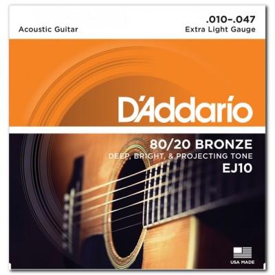 D'Addario EJ10 струны для акустической гитары 10-47